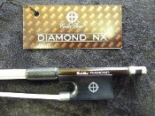 Images of a the American-made, full size violin Diamond NX bow by CodaBow. Images show the ebony frog, carbon fiber stick, and the nice tip.